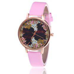 Floral Letter Face Faux Leather Strap Watch - PINK