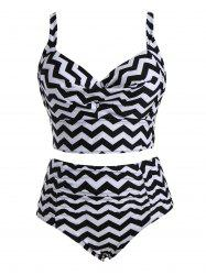 Plus Size Zigzag  High Waist Vintage Underwire Bikini - BLACK 4XL