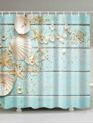 Plank Shell Print Mildew Resistant Shower Curtain