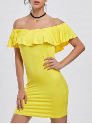 Off The Shoulder Mini Tight Bodycon Dress - YELLOW 2XL
