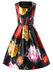 Allover Floral Sleeveless Lace Up Swing Dress