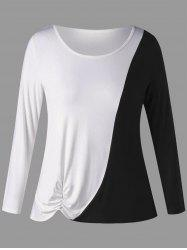 Plus Size Two Tone Shirred Long Sleeve T-shirt -