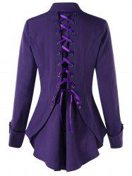 Button Down Lace Up Tunic Shirt - DEEP PURPLE