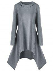 Sweat à capuche asymétrique Tunique - Gris