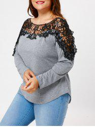 Lace Insert Plus Size Long Sleeve T-shirt