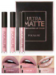 3Pcs Metallic Color Waterproof Hydratant Lip Glaze Set - 01#