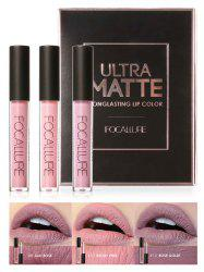 3Pcs Metallic Color Waterproof Moisturize Lip Glaze Set -