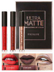 3Pcs Metallic Color Waterproof Hydratant Lip Glaze Set - 03#