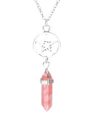 Natural Stone Star Circle Pendant Necklace -