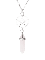Natural Stone Star Circle Pendant Necklace - PINK