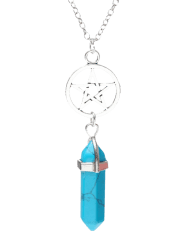 Natural Stone Star Circle Pendant Necklace - BLUE