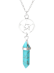 Natural Stone Star Circle Pendant Necklace - TURQUOISE BLUE