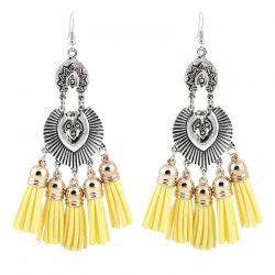 Face Engraved Tassel Chandelier Hook Earrings - YELLOW