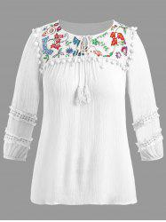 Plus Size Pompon Embellished Embroidered  Peasant Top