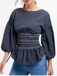 Lantern Sleeve Zip Waisted Blouse