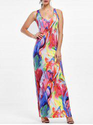 Racerback Tie Dye Maxi Tank Dress - COLORFUL