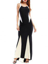 Color Block Bodycon Maxi Dress - Noir S