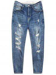 Zip Fly Tapered Fit Ripped Jeans