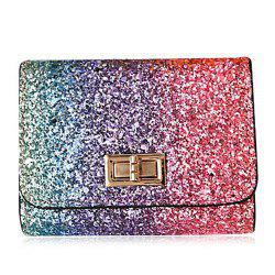 Sequins Multicolor Metal Small Wallet - Rose