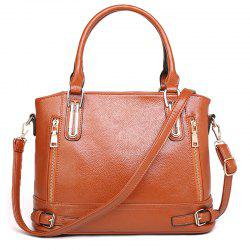 Zippers Belt Buckles Tote Bag - BROWN