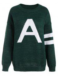 Pullover Knit Plus Size Graphic Sweater - DEEP GREEN