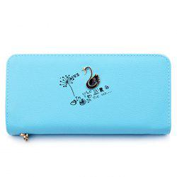 Faux Leather Letter Print Clutch Wallet