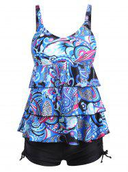 Printed Plus Size Tier Flounce Tankini Set - COLORMIX