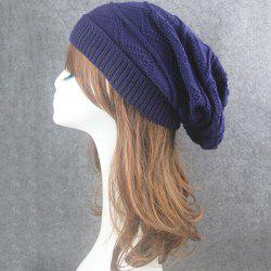 Knitting Wave Striped Beanie - CADETBLUE