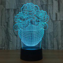3D Visual Rose Vase Shape Colors Change Touch Night Light