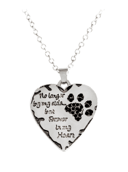Heart Engraved Forever Claw Footprint Necklace - BLACK