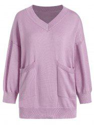V Neck Pocket Plus Size Knit Sweater - LIGHT PURPLE 2XL