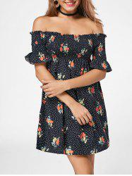 Smocked Floral Off The Shoulder Dress - BLACK