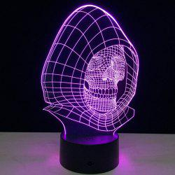 7 Colors Change Wizard Skull Shape 3D LED Night Light - TRANSPARENT