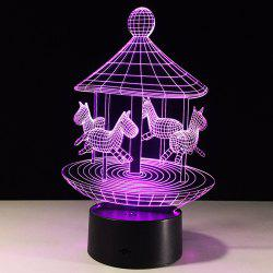 Carousel Desigh Colors Change 3D LED Touch Night Light - Transparent