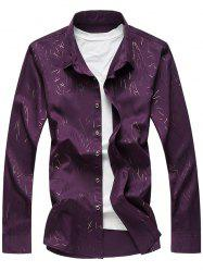 Long Sleeve All Over Printed Smooth Shirt - PURPLE 5XL