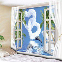 Window Heart Dolphin Wall Hanging Tapestry