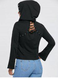Flare Sleeve Zip Up Lace Up Hoodie - Noir 2XL