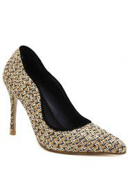 Gien Check Sequins Stiletto Heel Pumps - APRICOT 39