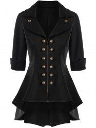 Double Breasted High Low Flare Trench Coat - BLACK