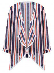 Asymmetric Open Front Stripe Plus Size Jacket -