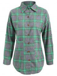 Button Up Plus Size Plaid Shirt Jacket - GREEN 5XL