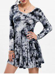 Tie Dye Long Sleeve Pleated Dress - BLACK AND GREY