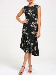 Floral Print Asymmetrical Mermaid Midi Dress