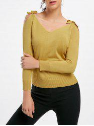 Self Tie V Neck Cold Shoulder Sweater
