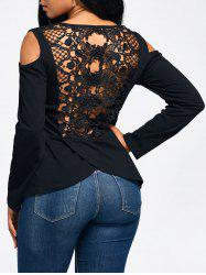 Lace Back Cold Shoulder Long Sleeve T-shirt - BLACK