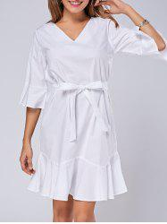 Ruffle Tie Belt Flare Sleeve Mermaid Dress