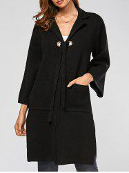Turn-down Collar Side Slit Pockets Longline Cardigan