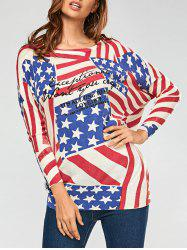 American Flag Pattern Drop Shoulder Pullover Sweater