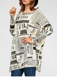 Letters Newspaper Ribbed Drop Shoulder Pullover Sweater