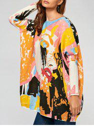Pullover Colorful Cartoon Ribbed Drop Shoulder Sweater -